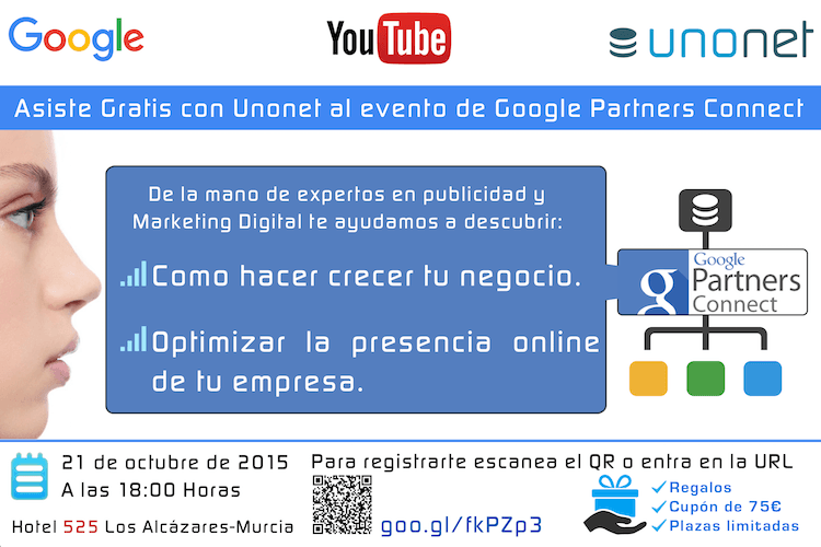 invitación impresa en flyer para marketing offline del evento Google Partners Connect Murcia